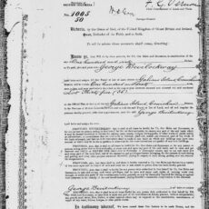 This is an image of George Bevilockway's Crown Grant at the BC Archives.
