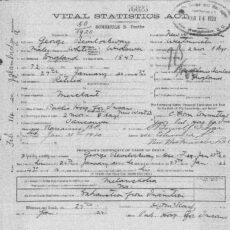 This is an image of the death registration for George Bevilockway
