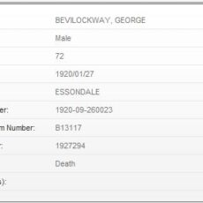 This is an image of the death index for George Bevilockway.