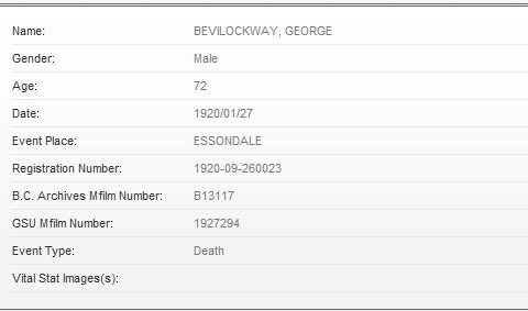 Bevilockway Death Index