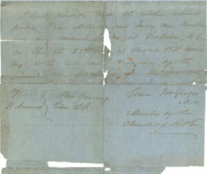 This is a photograph of the back page of the first marriage license issued in BC.