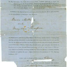 This is a photograph of the front page of the first marriage license issued in BC.