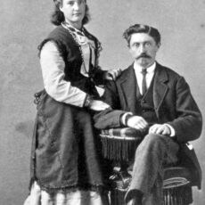 This is a black and white photograph of Mary Cogan and her husband.