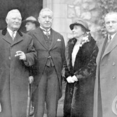 This is a black and white photograph of American Vice President John Nance Garner and Mrs. Garner, Lieutenant-Governor Fordham Johnson and Premier Pattullo in 1935.