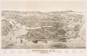 This is a photograph of an 1889 map of Victoria, BC.