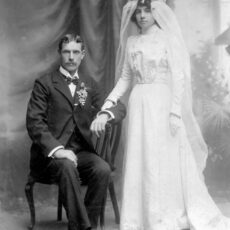 This is a black and white wedding photograph of a bride and groom.