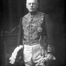 This is a black and white photograph of Sir Francis Barnard in the Lieutenant-Governor uniform.
