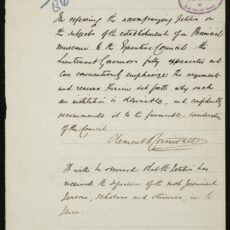This is a photograph of the letter from Lieutenant-Governor Clement Cornwall that accompanied the petition for a provincial museum.