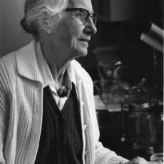 This is a black and white photograph of Dr Josephine Hart in profile.