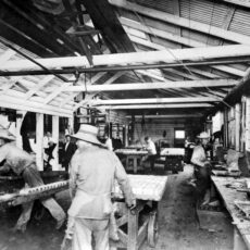 This is a black and white photograph of fish cannery workers in Nanaimo in 1900.