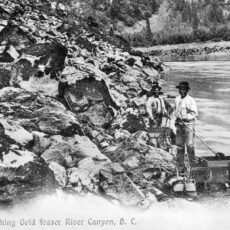 This is a black and white photograph of Ah Hoo gold mining in BC's northern interior in 1913.