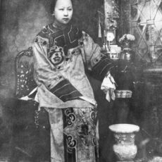This is a black and white portrait of an unidentified Chinese woman.