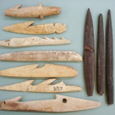 This is a photograph of hunting tools made of antler and slate.