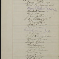 This is a photograph of the third page of the original petition created to show support for a provincial museum.