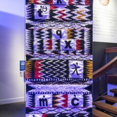 This is an image of artist Debra Sparrow's artwork called Salish Loom, showing intertwining traditional blanket design with contemporary images that represent consonants of the Halkomelem alphabet.
