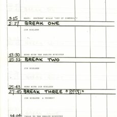 This is an image of the show list from January 15, 1985, describing the topics and guests for that day's show in five separate segments.