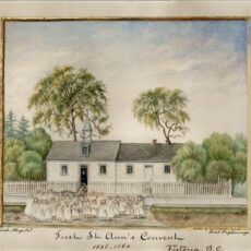 This is an image of an 1872 painting of St Ann's Schoolhouse showing children in front of the school and trees around the building.