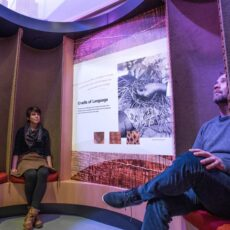 This is a photograph of a man and a woman seated in the cradle theatre in the Our Living Languages exhibition.