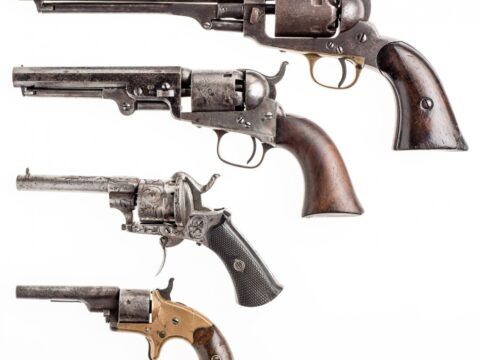 Revolvers-top-to-bottom-Samuel-Colt-1851-Colt-.22-1871-Whitney-revolver-1860-Ornate-revolver-1200×1140