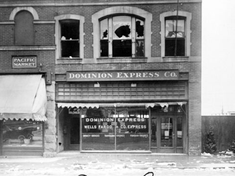 Damage to the German club after the sinking of the SS Lusitania