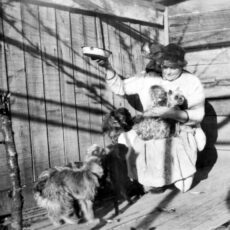 This is a black and white photograph of Emily Carr kneeling down with her monkey Woo on her right shoulder, and three of her dogs in the foreground.