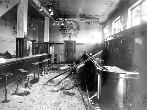 Damage to the Kaiserhof hotel bar following the SS Lusitania skinking