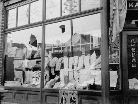 Damaged store due to Anti-Asian riot of 1907