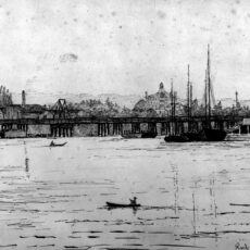 This is a sketch of Rock Bay Bridge in Victoria, BC by Emily Carr, showing boats on the water and Victoria in the background.