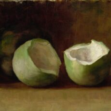 This is a painting by Emily Carr titled Melons, showing a green melon cut in half.