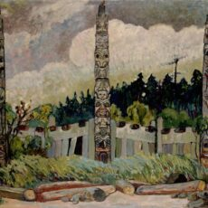 This is a 1913 painting by Emily Carr of the uninhabited Haida village of T'anuu, Haida Gwaii showing three house poles, and logs in the foreground.