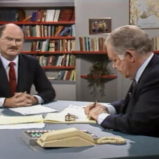 This is an image of a screen grab from the Webster show showing Mike Harcourt seated across from Jack Webster during an interview.