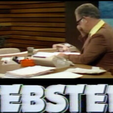 This is an image of a screen grab from BCTV's Webster show showing Jack Webster at his desk with papers and telephone on the desk.