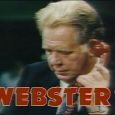 This is an image of a screen grab from BCTV's Webster show, showing Jack Webster on a red telephone.