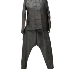 This is an image of a mud silk garment, typical of Chinese miners who came to BC during the gold rushes.