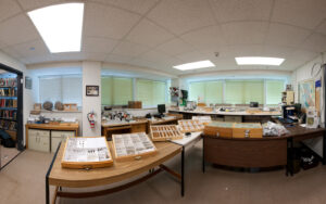 This is a panoramic photo showing the entomology department with specimen drawers at the Royal BC Museum.
