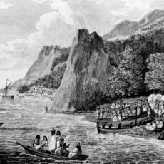 "Launching of the ""North West America"" at Nootka Sound, 1790."