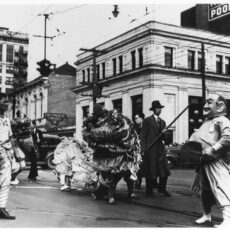 Chinese Masonic procession at Yates and Douglas streets, ca. 1940.