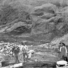 Mining for gold by hand, ca. 1900.