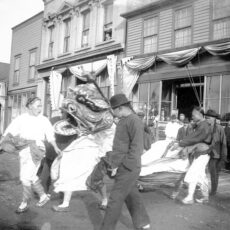 A parade in a BC Chinatown, ca. 1900.
