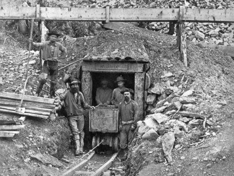 Shaft entrance of Neversweat Tunnel Co. Claim, Williams Creek. Frederick Dally, Photographer