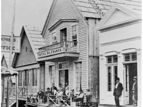 Barkerville's Hotel de France, before the fire of September 16, 1868. Fredrick Dally, Photographer.