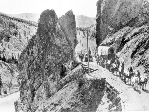 Stagecoach on the Cariboo Road, in the Fraser Canyon. ca. 1898. Frederick Dally, Photographer