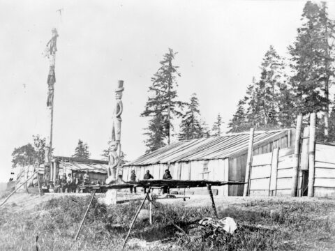 First Nations, poles and housing at Comox, ca. 1866-1870. Frederick Dally photographer