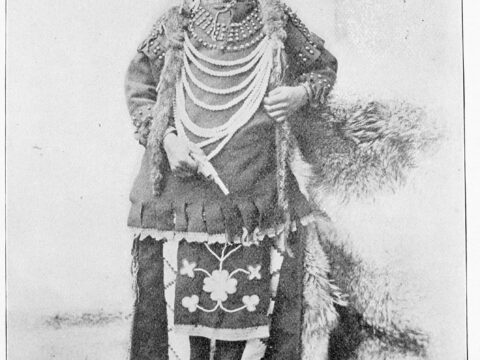 Thomas Moore, a Cree boy, as he appeared when admitted to the Regina Indian Industrial School in Saskatchewan, about 1897.