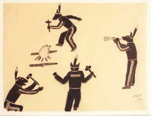 A black and white drawing of four coyotes standing upright around a fire. The coyotes are wearing traditional Nlaka'pamux clothing. The coyote on the right of the image is playing a flute-like instrument while the other three coyotes appear to be dancing around the fire while holding hammers.