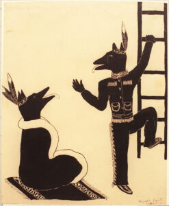A black and white drawing of two coyotes. The coyote on the left of the image is sitting on a rug on the floor. The coyote is wrapped in a blanket and wearing a Nlaka'pamux headdress. The coyote on the right of the image appears to be waving goodbye to the other coyote as he begins to climb a ladder. This coyote is also wearing traditional clothing of the Nlaka'pamux.