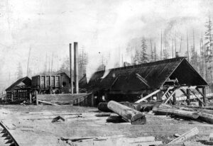 Black and white photograph of the Cumberland Sawmill. There are logs at the forefront of the photograph. There are also three buildings in the photograph, one of which has smoke coming out of the roof. There are many trees in the background of the photograph.