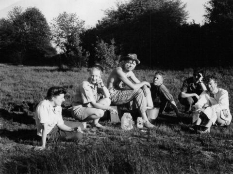 Stan Fox with cast and crew of <em>Glub</em> on location, 1947