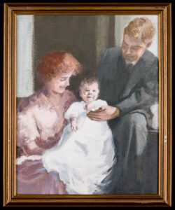 An oil painting of a happy mother and father holding their baby in a sunny room.