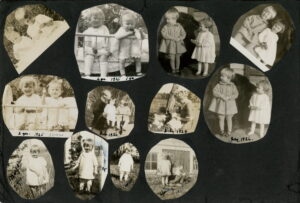 One page from a black and white photo album with twelve photos of two small children, a boy and a girl, in different poses. There are dates from the mid-1920s written on some of the pictures.